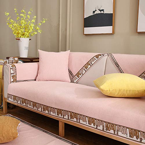 YUTJK Fabric Sofa Cover,Furniture Cover,Chenille Sofa Pad with Anti-slip Backside,Bedroom Sofa Cover,Crawling Mat,Sofa Armrests and Backrest Towel-Pink_45x45cm(Pillowcase)