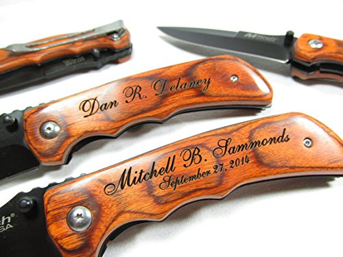 Personalized Engraved Wood EDC Pocket Knife Groomsman Best Man Wedding Party Contour Grip