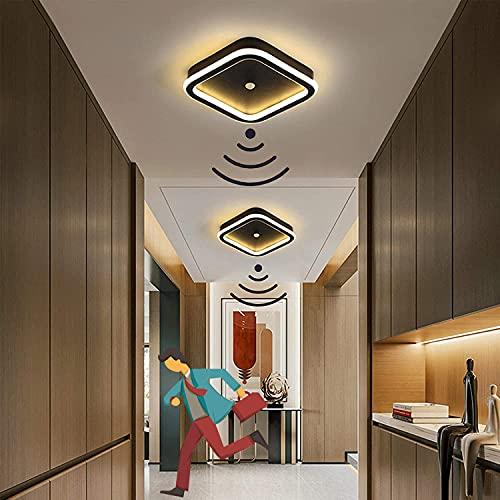 Plafón LED Interior 14W, Lámpara de Techo con Detector de Movimiento, Iluminación de techo con sensor de luz, Blanco Frío 6000K para Recibidor, Salón, Dormitorio, Cocina, Comedor, Negro Ø22CM
