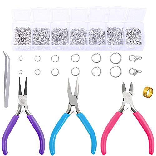 Kit de reparación de collares, argollas con alicates de punta de aguja, abridor de anillos y pinzas, 1312 anillas de saltar y 3 alicates de joyería para hacer suministros y reparación de collares