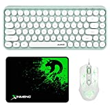 Wireless Bluetooth Keyboard and Wired Mouse Combo,84-Key Typewriter Mini Portable Keyboard,RGB Lightweight Gaming Mouse Compatible with Windows Mac OS Linux, Green