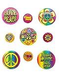 9 pines hippie con diseño de flores de la paz, accesorio para disfraz de los años 60 y 70