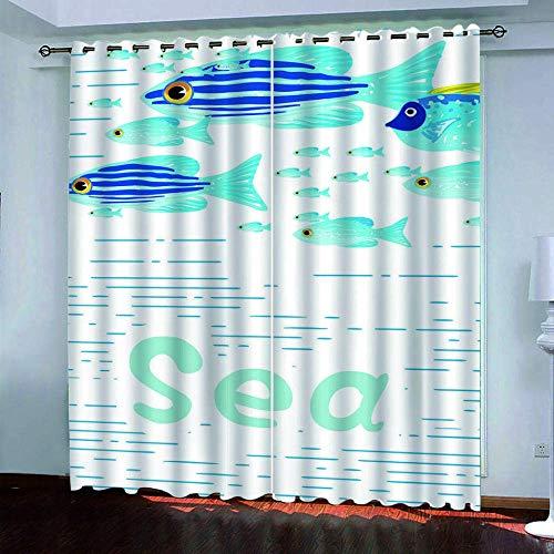 Cortinas Opacas 3D, Cortinas De Fibra De Poliéster Impermeables Y A Prueba De Moho, Peces Submarinos De Colores En La Sala De Estar, La Oficina Y El Dormitorio (2 Paneles) 250 (H) X150 (W) Cmx2