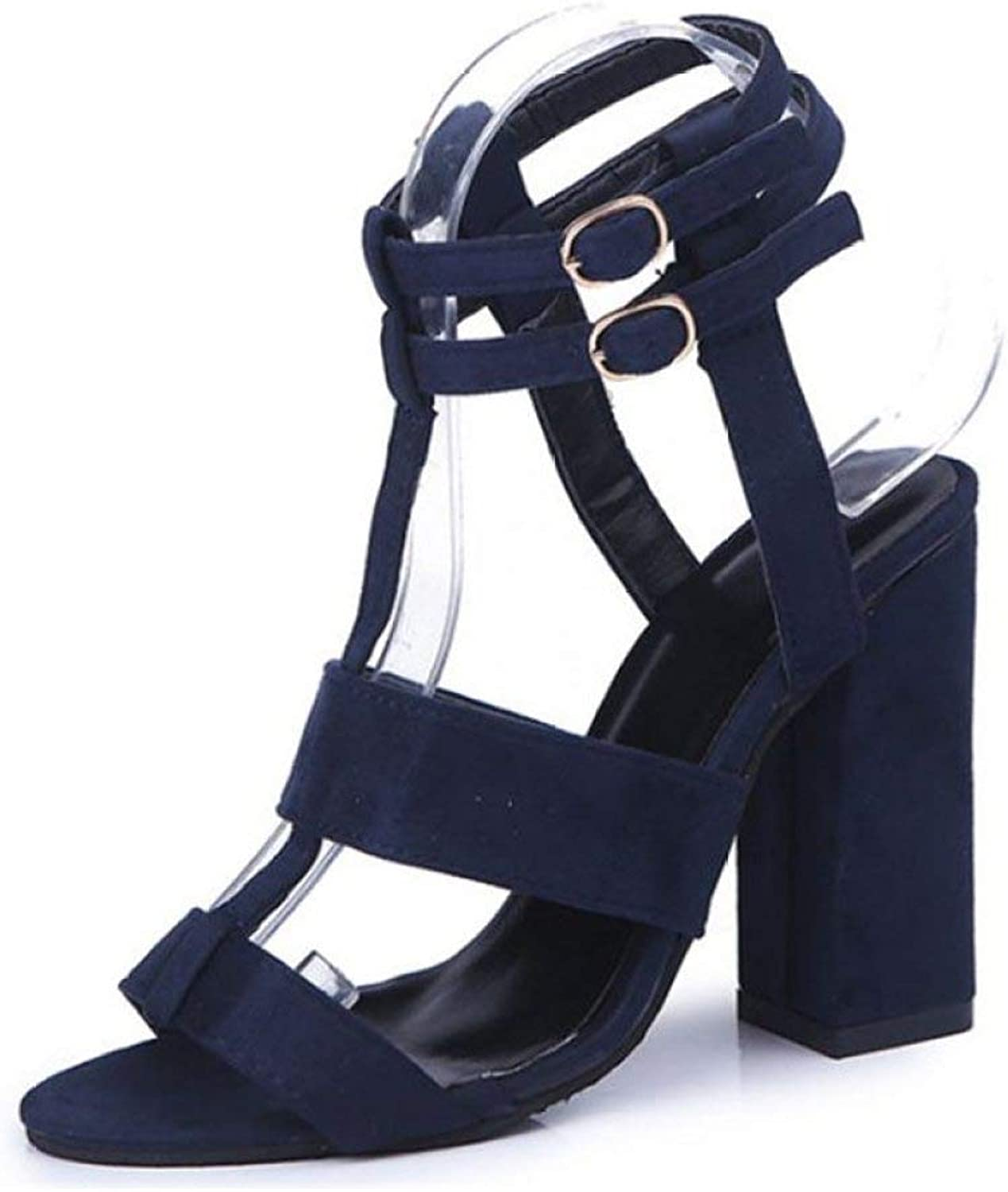 Women High Heels Sandals Summer Double Buckle T-Strap Square Heeled Female Party Wedding shoes