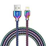 Fantany iPhone Lightning to USB-A Cable, MFi Certified, Stainless Coiled Metal Charger Cable, Tangle Free Pet Proof Cable Cord, Durable & Strong Spring Wire for iPhone/iPad (6.6ft, Colorful Metal)