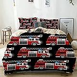PATINISA Funda Nórdica Cama Estampada Reversible A Red Fire y Rescate camión de Patrones sin Fisuras Fundas Edredón Nórdico 200x200cm con 2 Fundas de Almohada 50x80cm