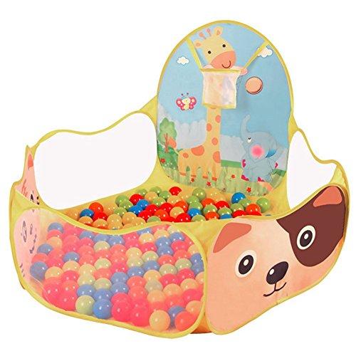 Mackur Kinder Faltbarer Bällebad mit Basketballkorb für 0.5-4 jährige Kinder