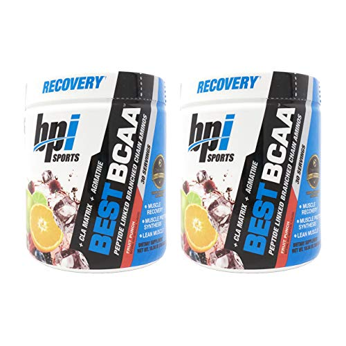 BPI Sports Best BCAA Peptide Linked Branched Chain Amino Energy Powder, 10.58oz, Pack of Two 30 Servings (Fruit Punch 2 x 30svg)