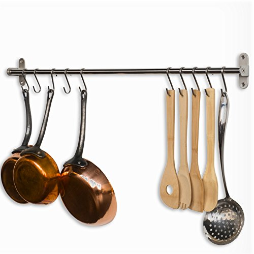 Wallniture Lyon 315 Wall Mount Kitchen Utensil Holder With 10 S Hooks For Hanging Pots and Pans Set