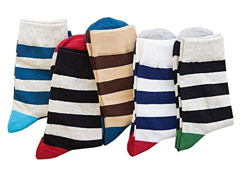 Black Temptation Pack de 5 Paires Chaussettes pour Hommes Pattern de Rayures colorées