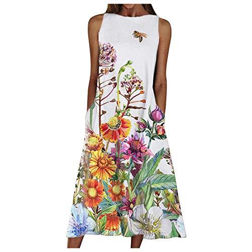 Lenfeshing Vestido Largo de Playa Verano para Mujer Vestido Midi con Estampado de Flores con Bolsillo Y Cuello Redondo