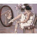 QYQY 5D DIY diamante pintura bailarina Ballet y dúo cuadrado completo/taladro redondo bordado de diamantes mosaico imagen hogar sala de baile decoración de la pared(19.7x27.6inch)