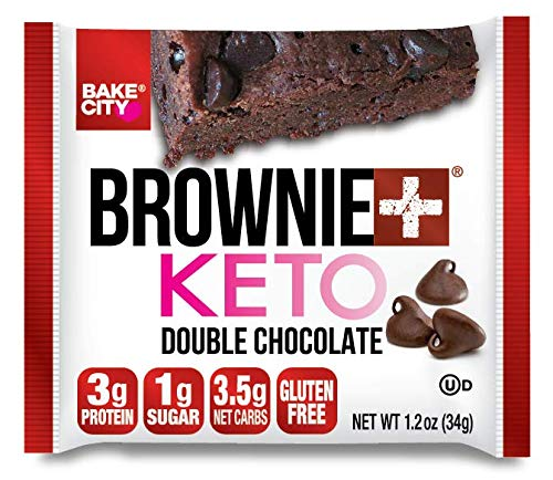 Bake City Brownie+ Keto | 1.2oz Brownie (12 pack), Gluten Free, 1g Sugar, Only 3.5g Net Carbs, Good Fats, 3g Protein, Kosher, No Artificial Flavors
