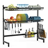 Over the Sink Dish Drying Rack, iSPECLE 2-Tier Large Premium 201 Stainless Steel Dish Rack with Utensil Holder Hooks Stable Bend Foot for Kitchen Kitchen Supplies Storage Counter Non-Slip