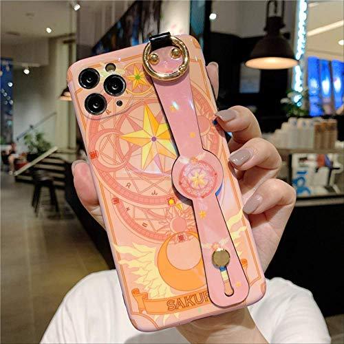 Estuches para teléfono Cute Sailor Moon con Correa para la muñeca Blue Ray para iPhone 12 Mini 11 Pro XS MAX SE XR 7 8 Plus Funda Pulsera Dibujos Animados Brillante para iPhone 11ProMax Pink