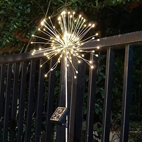 Luces solares para exteriores con luces solares para decoración de jardín, guirnalda de luces LED para exteriores ZHQHYQHHX (color emisor: 1 pieza blanco cálido, Potencia: 0 5 W)
