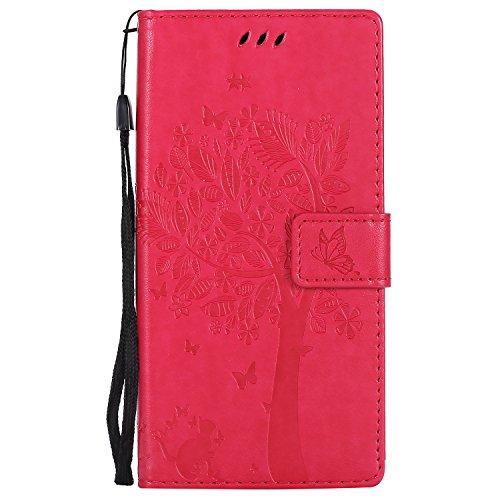 LODROC Moto G6 Hülle, TPU Lederhülle Magnetische Schutzhülle [Kartenfach] [Standfunktion], Stoßfeste Tasche Kompatibel für Motorola Moto G6 - LOKT0101712 Rosa Rot