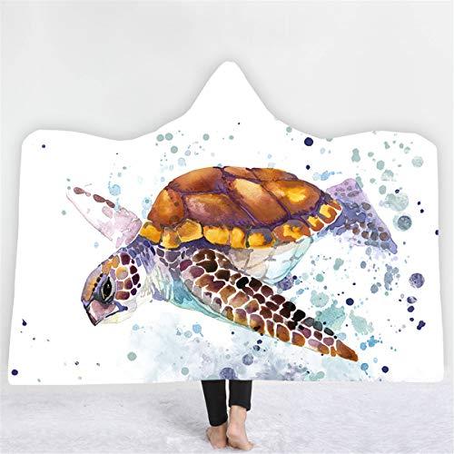 Chickwin Manta con Capucha para Adulto Mujer Hombre Niño, 3D Oceano Animal Impresa Microfibra Franela Usable Suave y Cálido Mantas Sofa Cobija (Pequeño -130 x 150 cm,Splash Ink) ⭐