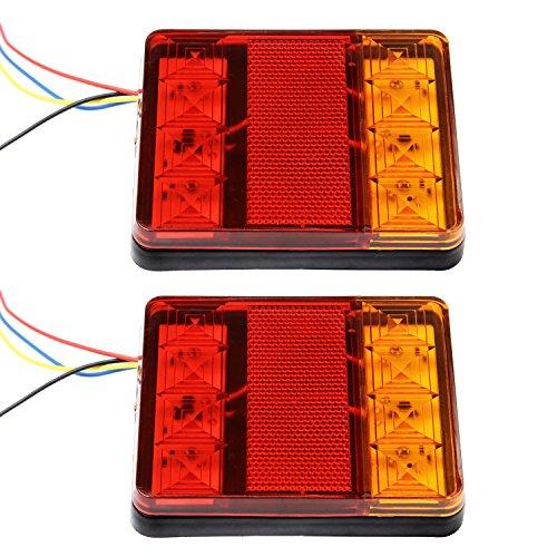 Discoball Luce posteriore per rimorchio, universale, 2 x 8 LED, indicatore di freno e stop, per camion, caravan, van, trattori da 12 V