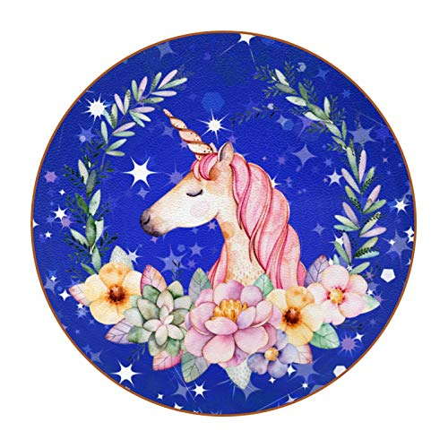 Custom Coasters Unicorn Light Drink Coaster (6-Piece Set), Housewarming Hostess Gifts Decor, Wedding Registry, Room Decorations, Customizable Picture and Text 4.3 in