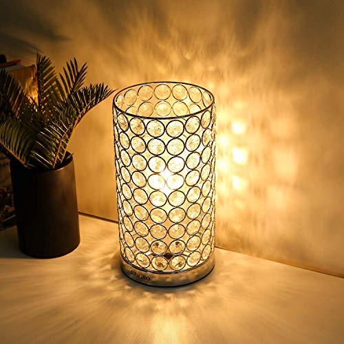 Albrillo Kristall Tischlampe, Klassische Dekorative Nachttischlampe mit E27 Fassung, Design LED Tischlampe mit 153 Kristalle als Geschenke und Deko für Wohnzimmer, Schlafzimmer