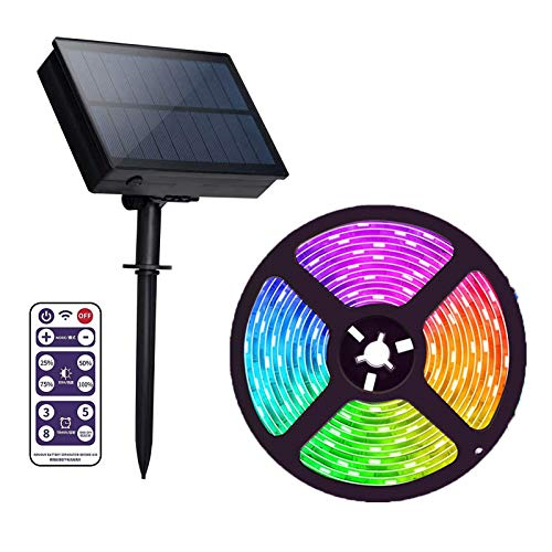 Outdoor Solar RGB LED Strip Lights,IP65 Waterproof 16.4Ft/5M Cuttable Rope Lights 8 Modes,Solar Powered Flexible Waterproof String Lights for Garden Patio Pool Christmas Tree Bushes Wall Decoration