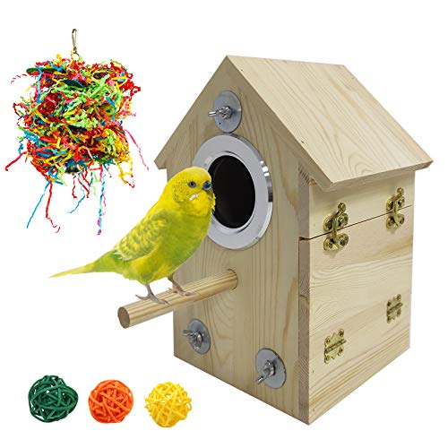 kathson Wood Parakeet Nesting Box Bird House Budgie Breeding Box Parrots Mating Box Cage Accessories for Finch Cockatiel Lovebirds Birds Aviary Cage Box