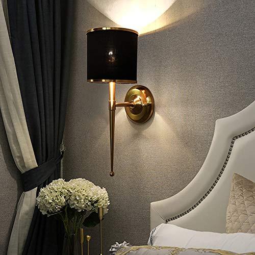 De enige goede kwaliteit Decoratie Moderne Minimalistische Zwarte Lampenkap Metaal Goud Smeedijzeren Spiegel Koplampen Woonkamer Slaapkamer Bedkant Restaurant Wanddecoratie Wandlamp 16x45cm Villa