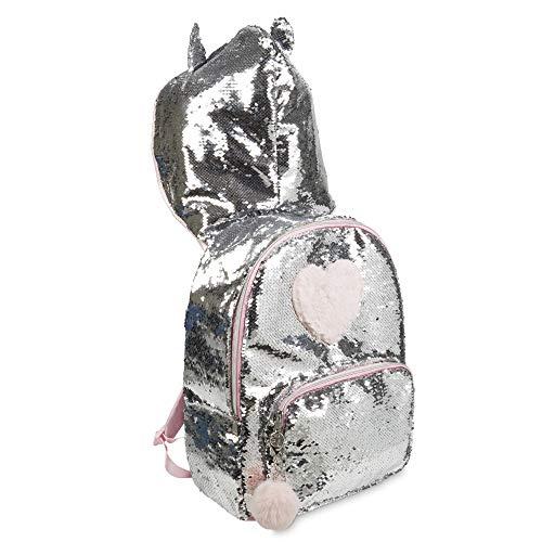 Tri-Coastal Design - Hooded Backpack Reistas - Dieren Thema Meisjes School Boek Zak met Dierlijke Oren Kap voor Kinderen (Silver Unicorn)