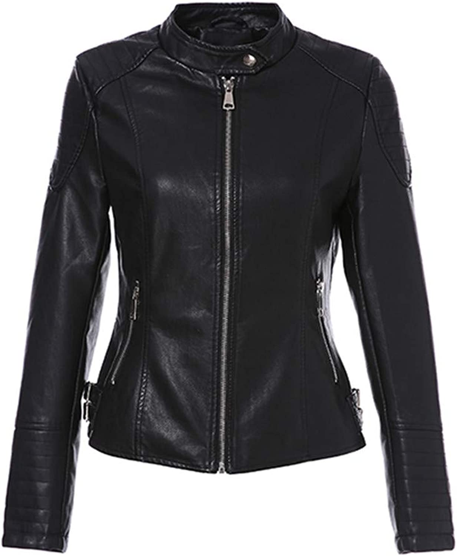 Leather Jacket Women Autumn Short Motorcycle Zippers Biker Coats Black Ladies Basic Jackets