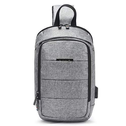 FANDARE Brusttasche Schultertasche Herren Sling Bag Damen Crossover Rucksack mit USB 7.9 inch iPad Umhängetasche Sporttasche für Wandern,Abenteuer,Sport, Reisen Wasserdicht Polyester Grau
