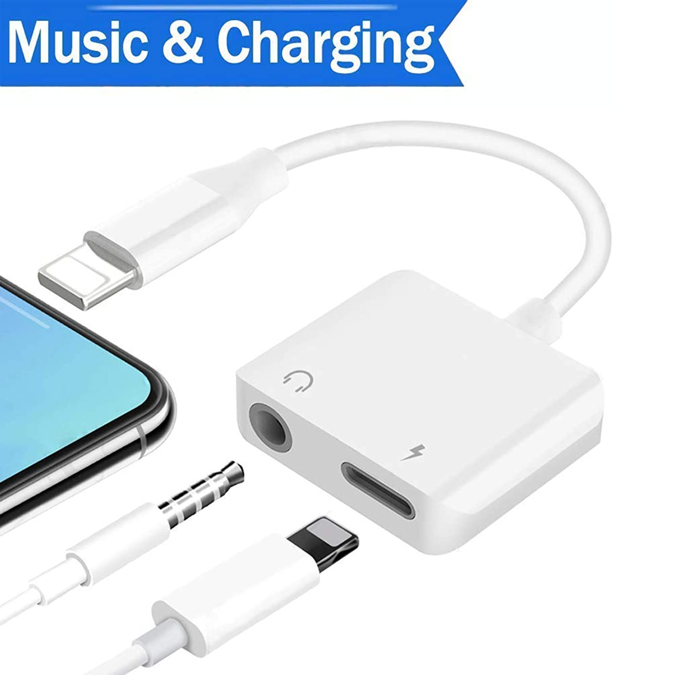Headphone Jack Adapter Dongle for iPhone 8/8Plus/X (10) / 7/7 Plus/Xs/Xs Max/XR/Adaptor to 3.5mm Splitter Converter Compatible with Listen to Music Adapter Audio and Charger Cable Support iOS 12
