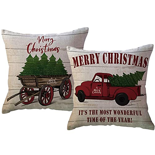 2Pack Merry Christmas Pillow Cover with Christmas Tree and Vintage Red Truck Pattern Cotton Linen Home Decorative Throw Cushion Case 18 x 18 inch (Christmas-1)