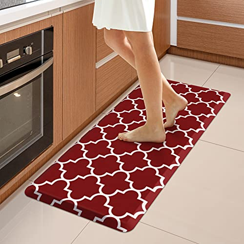 """WISELIFE Kitchen Mat Cushioned Anti-Fatigue Kitchen Rug,17.3""""x 39"""",Non Slip Waterproof Kitchen Mats and Rugs Heavy Duty PVC Ergonomic Comfort Mat for Kitchen, Floor Home, Office, Sink, Laundry,Red"""
