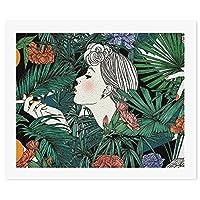 タバコを吸う女性 植物DIY 数字油絵 キャンバスの油絵 手塗り 57* 47 cm 絵画 大人の子供のためのギフト 数字キットでペイント インテリア アートフレーム ホームデコレーション