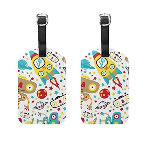 Netter Roboter-Muster-Gepäckanhänger 2Pcs beweglicher Addr Namensschild-Halter-Identifikator-Aufkleber überprüfte Karten-Reisetaschen-Koffer