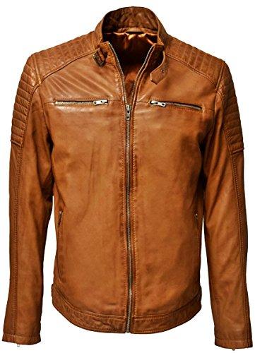 Zimmert Gunn Echt Lederjacke Leder für Herren aus 100% Lammnappa mit Waschung, Slim-Fit mit Stehkragen und Armsteppung (Dunkelcognac, 48)