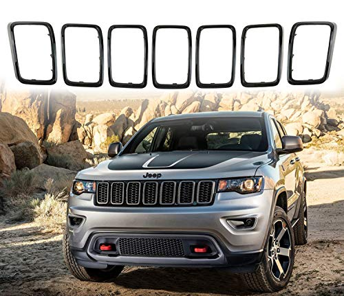 YAV Black Grill Rings Rims Cover Grille Inserts for Jeep Grand Cherokee 2017-2021 Accessories Body Kits 7pcs
