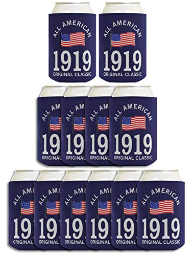 100th Birthday Party Supplies All American 1920 Original Classic 12-pack Can Coolies Coolers Multi