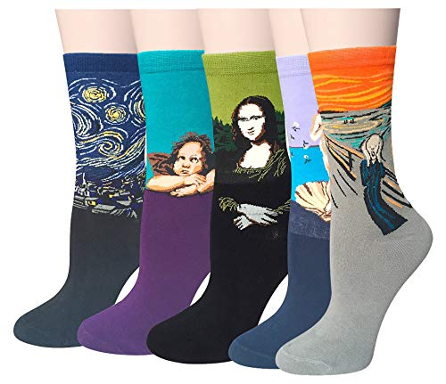 Chalier Damen Herren Lustige Bunte Baumwolle Socken, 5 Paar, Stil 03, Einheitsgröße