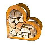 EDS – Scaffale per legna da ardere a forma di cuore | in acciaio Corten | patina naturale – ruggine | per interni ed esterni | a forma di cuore | effetto ruggine
