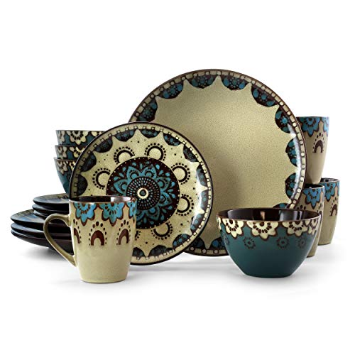 Elama CLAYHEART16 Clay Heart 16 Piece Luxurious Stoneware Dinnerware with Complete Setting for 4, 16pc, pc, Tan, Blue, Brown