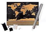 Mapa Mundi Rascar XXL, Color Negro y Dorado, 82 x 60 Centímetros, con las Banderas...