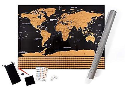 Mapa Mundi Rascar XXL, Color Negro y Dorado, 82 x 60 Centímetros, con las Banderas de Todos los Países. Un Regalo Ideal y muy original para los viajeros y niños. Mapamundi para rascar.