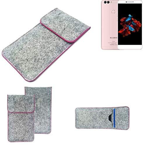 K-S-Trade Handy Schutz Hülle Für Bluboo Dual Schutzhülle Handyhülle Filztasche Pouch Tasche Hülle Sleeve Filzhülle Hellgrau Pinker Rand