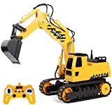 RACPNEL Remote Control Excavator Toys 1:26 RC Excavator, 2.4GHz Fully Functional Construction Vehicles Toys Truck with Rechargeable Battery, Birthday Gift for Boys and Girls, Kids (1:26)