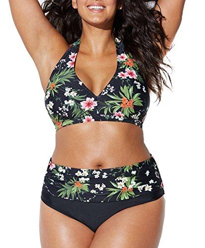 Bikini Grandi Sexy Donna Costumi da Bagno Plus Size Spiaggia Boemo Fionda Scoll a V Due Pezzi Swimwear Estate-Très Chic Mailanda (4XL, Nero)