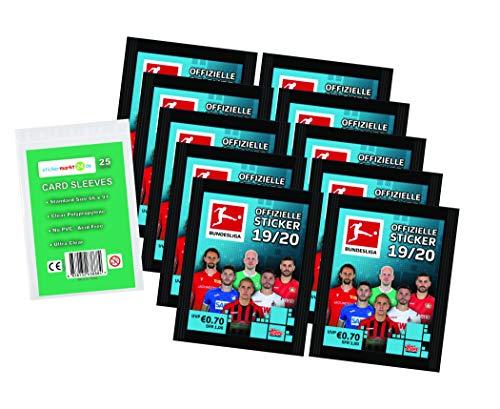 Topps Bundesliga Sticker 2019 / 2020 - 10 Tüten ( 50 Sammelsticker ) + stickermarkt24de Sleeves