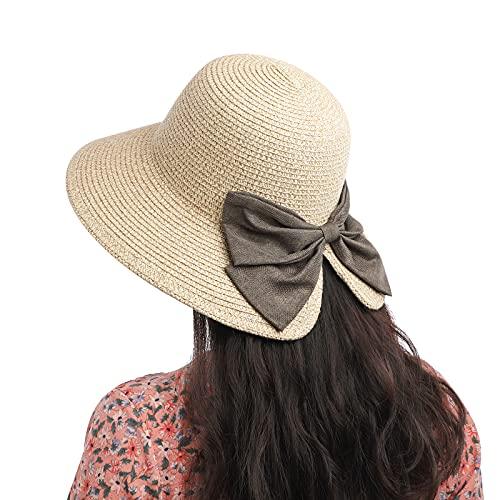 Sombreros de Paja para Mujer, Verano Sun Floppy de Playa Plegable con Lazo de Decoración, Gorro Vacaciones al Aire Libre Protección Anti-UV