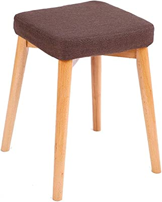 JSZMD Nordic Style Stool Solid Wood Chair Living Room Fashion Creative Simple Small Square Stool (Color : Brown)